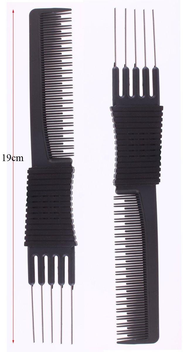 2pcs Professional Salon Teasing Back Combs, Black Carbon Comb
