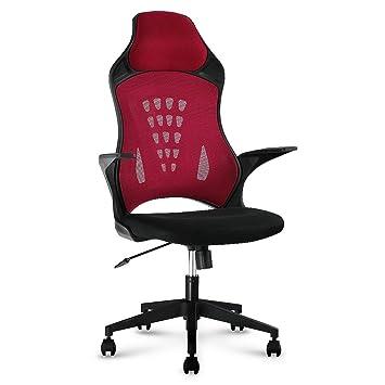 LANGRIA Bürostuhl Hoch-Back Gaming Stuhl Schreibtischstuhl Wippfunktion  Drehstuhl Computer Gitter Synchro-Tilt 130