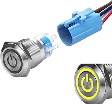 WerFamily 19mm Momentary Push Button Switch 1NO 1NC SPDT ON//OFF Waterproof Stainless Steel Metal High Round Cap with Yellow LED Angel Eye