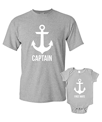 32050d88 Captain and First Mate T-Shirts Baby Grow Matching Father Child Gift Set 2  Shirts