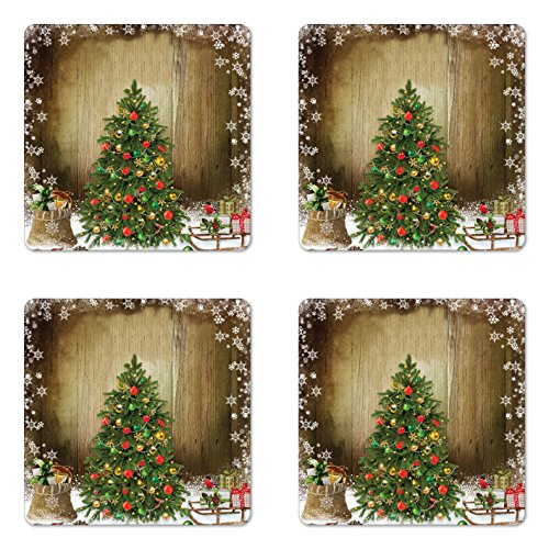 Christmas Coaster Set of Four by Ambesonne, Festive Pine Tree with Present Boxes on Snowy Board Xmas at Countryside Theme, Square Hardboard Gloss Coasters for Drinks, Multicolor
