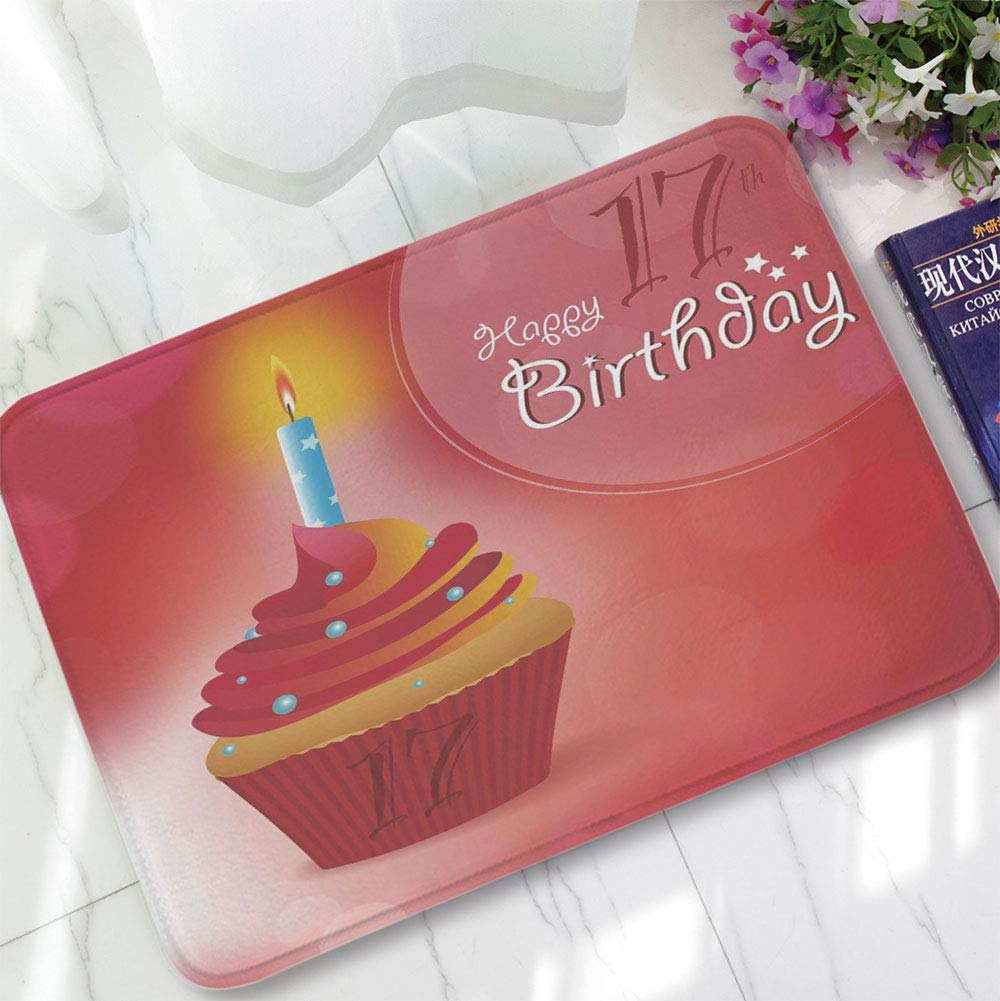 YOLIYANA Water Absorption Non-Slip Mat,17th Birthday Decorations,for Corridor Study Room Bathroom,15.75''x23.62'',Sweet Seventeen Party Theme with Cupcake