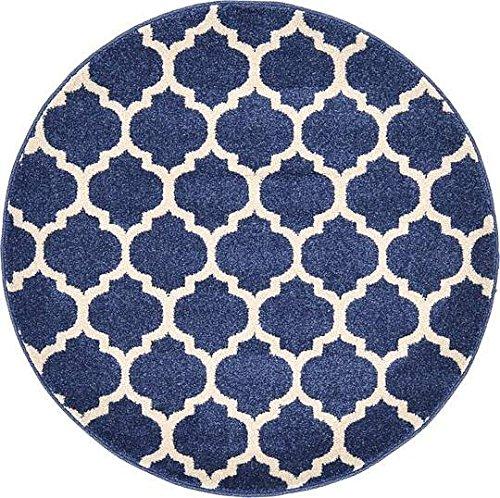 Unique Loom Trellis Collection Dark Blue 3 ft Round Area Rug (3' 3