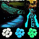 Image of IHome Set 300 PCS glow Stones, Glow in the dark pebbles for Walkways Yard Grassand Fish Tank Decoration (Green Blue White )