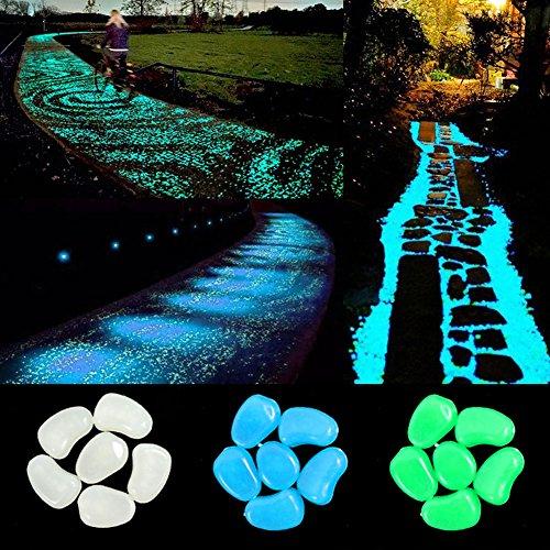 IHome Set 300 PCS glow Stones, Glow in the dark pebbles for Walkways Yard Grassand Fish Tank Decoration (Green Blue White )