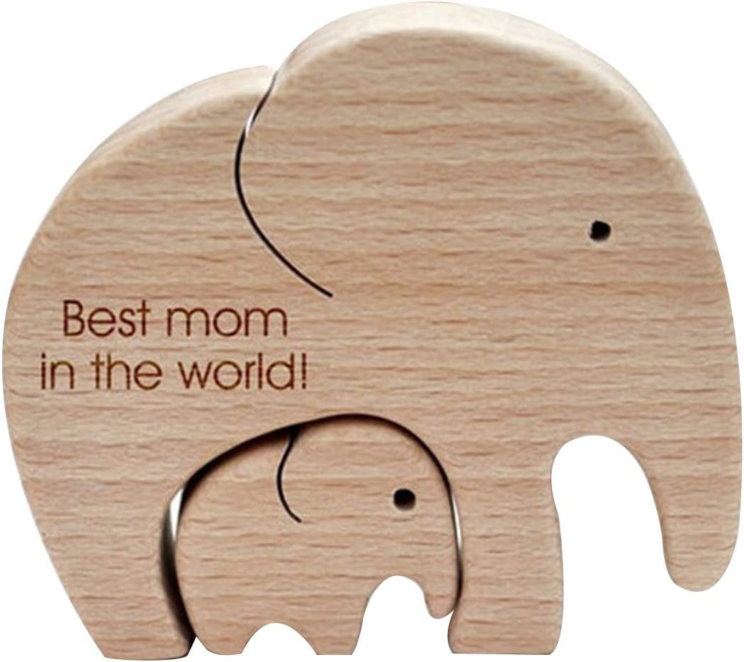 Jxueych Elephant Mother And Child—Mother's Day Gift- Wall Art Decor Crafts Figurines Ornaments for Home Bedroom Farmhouse Living Room Decor (2pcs best mom)