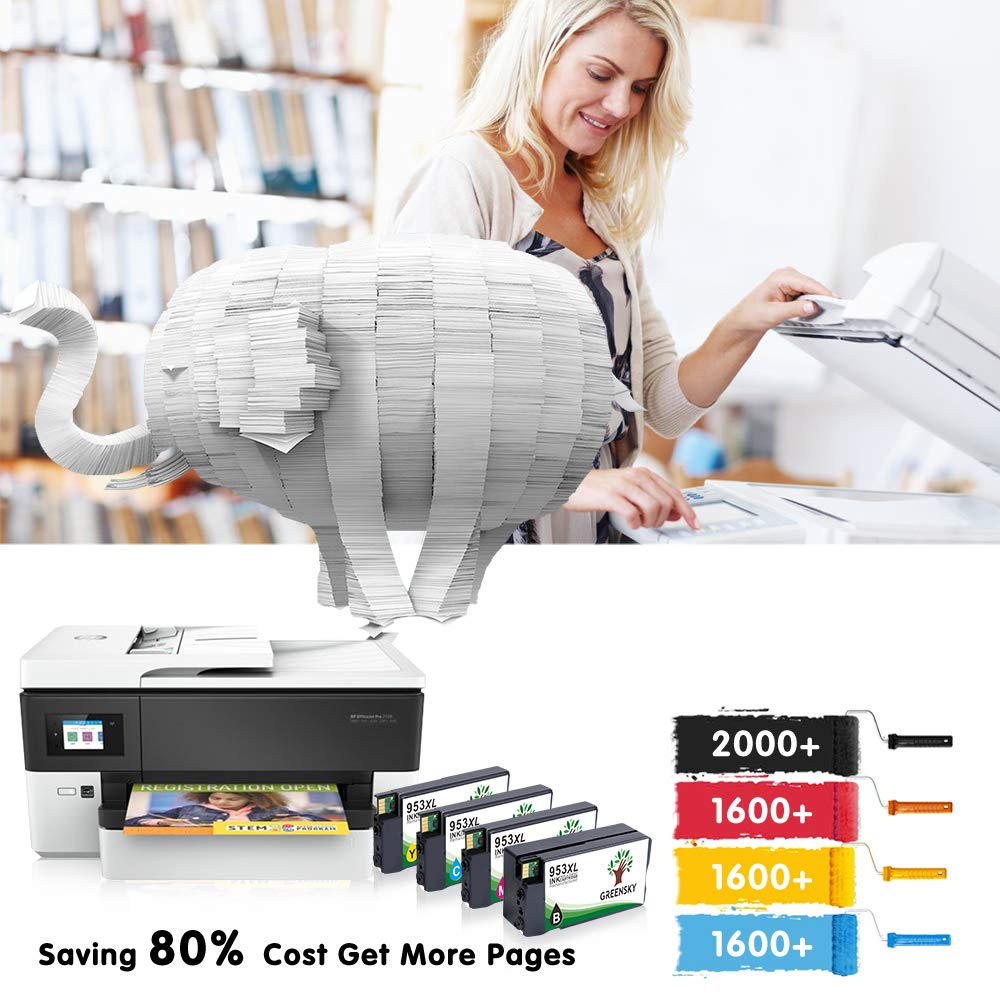 GREENSKY 4 paquetes cartucho de tinta compartible compartible compartible de reemplazo para HP 953 953XL para HP OfficeJet Pro 7720 7730 7740 8210 8710 8715 8720 8725 8728 8730 8740-(1Negro 1Cian 1Amarillo 1Magenta) 10d618