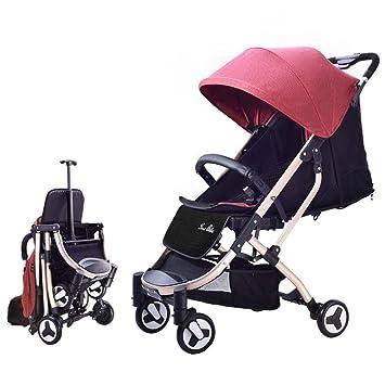 SKYyao Silla de Paseo,Cochecito,Coche de bebé Plegable Super Ligero Puede Sentarse y Mentira a bebé con Carrito Trolley 48 * 62 * 92 cm: Amazon.es: Hogar
