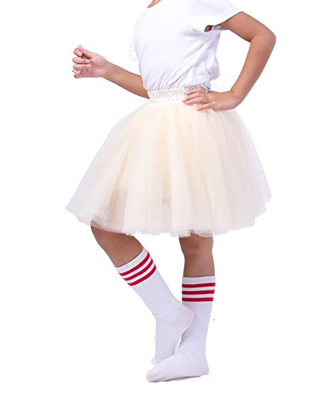 fbfa29cc2 Amazon.com: Classic 7 Layers Fluffy Baby Girls Tulle Skirt Princess Ballet  Dance Tutu for Christmas Party, 3-8T (Beige): Clothing