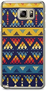 Samsung Note 5 Transparent Edge Phone Case African Pattern Phone Case African Art Style Phone Case Blue And Yellow