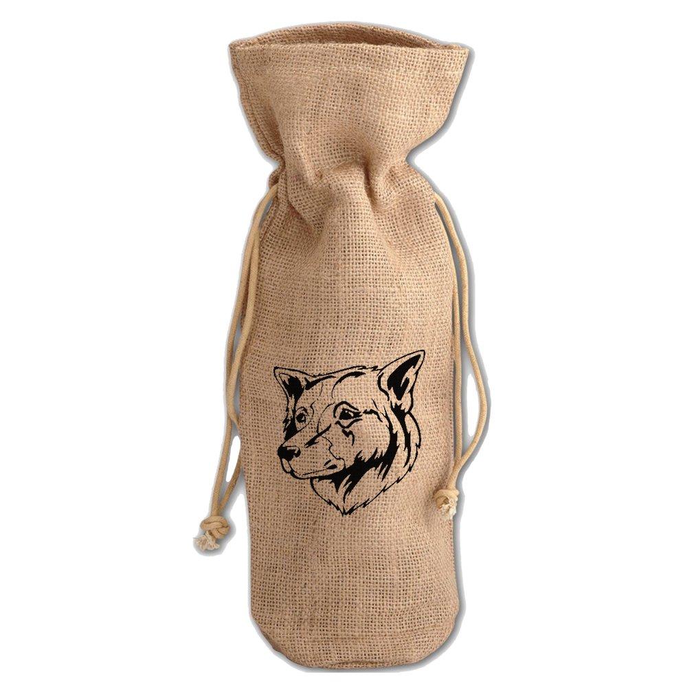 Burlap Wine Drawstring Bag Thai Bangkaew Dog Head Black By Style In Print