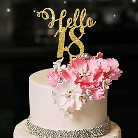 Excellent Amazon Com Yuinyo Hello 18Th Birthday Cake Topper Gold Happy18Th Funny Birthday Cards Online Alyptdamsfinfo