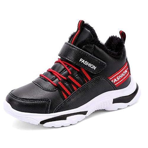 f7f10337a Zapatillas Deportivas para niños Calzado de Cuero cálido Zapatillas Altas para  niñas y niños Zapatillas Impermeables Moda Calzado Informal  Amazon.es  ...