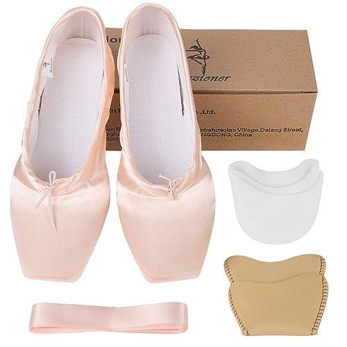 sports shoes b3df6 55e54 Ballett Spitzenschuhe Satin Professionelle Ballettschuhe Tanzschuhe  Ballerinas mit Band und Spitzenschoner für Damen Mädchen (Bitte wählen Sie  eine ...