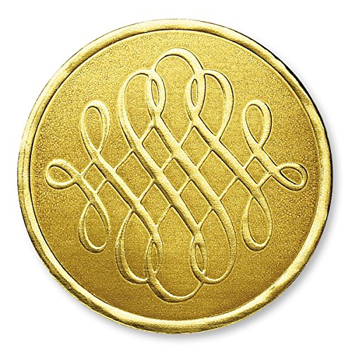 Deluxe Embossed Luxury Design Gold Foil Certificate Seals, 1 3/8 Inch, Self Adhesive, 32 Count ()