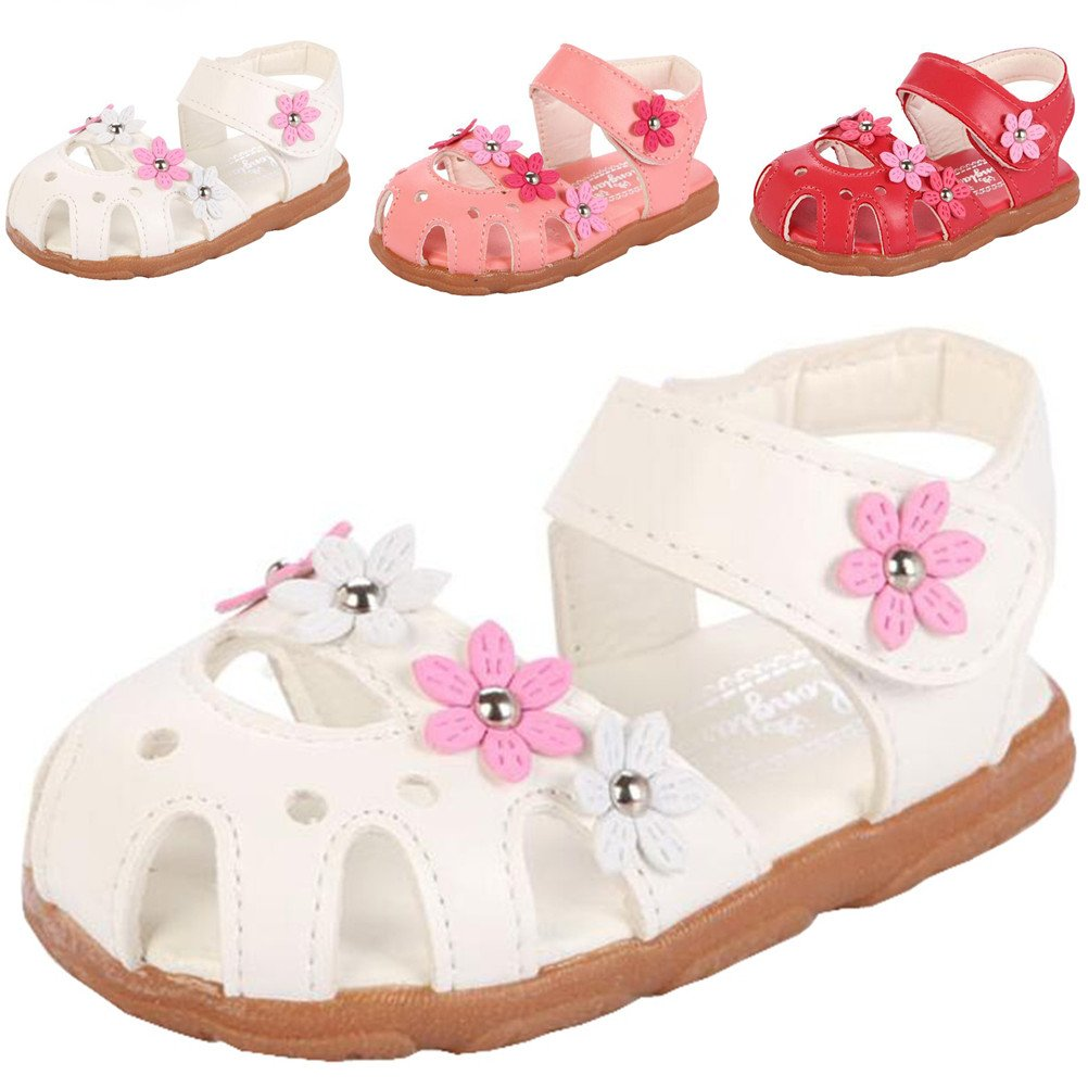 DADAWEN Girl's Summer Closed-Toe Solid Flower Outdoor Casual Sandals (Toddler/Little Kid) White US Size 8 M Toddler