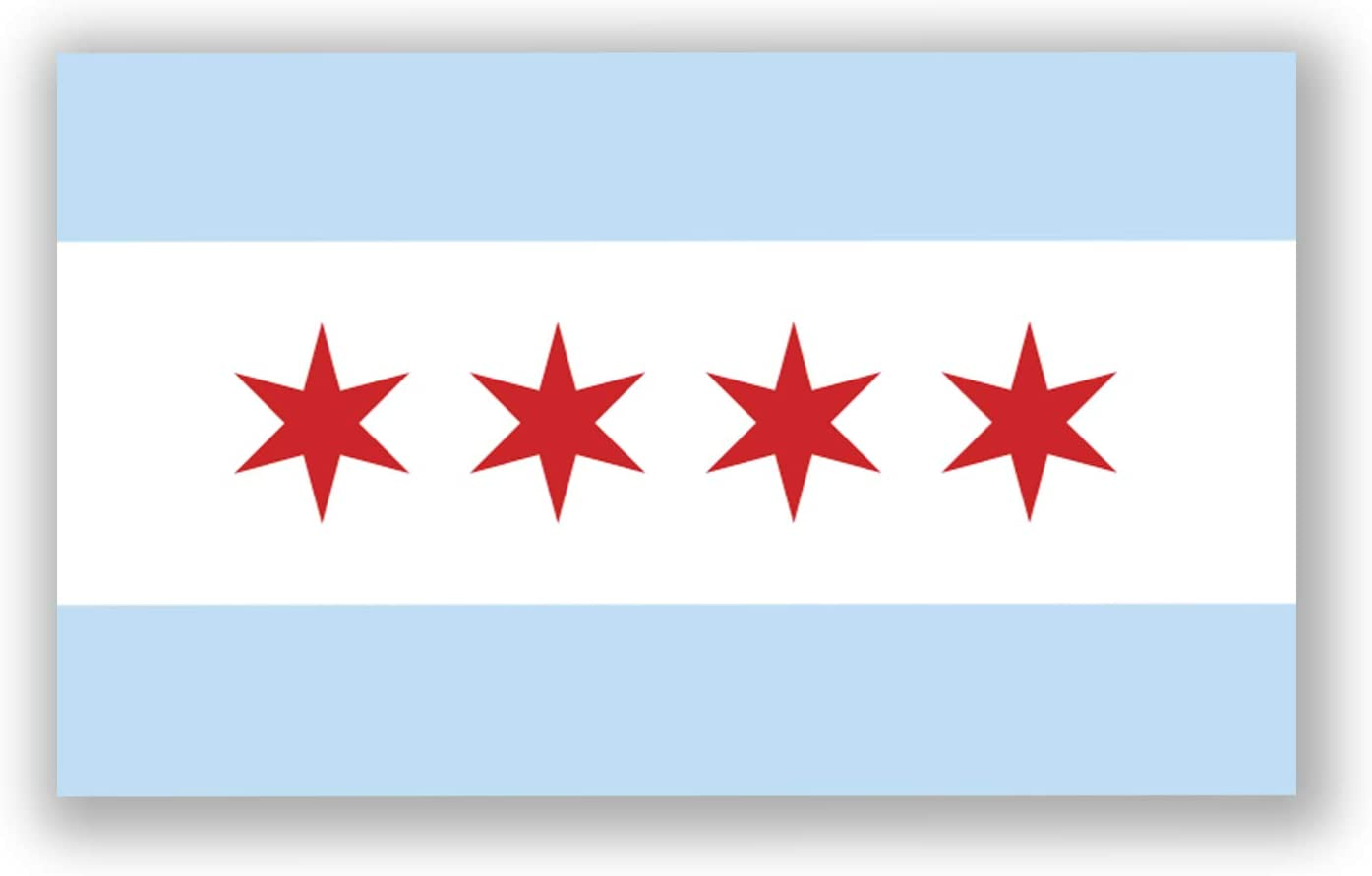 2-Pack Chicago City Flag Decal Sticker | 5-Inches by 3-Inches | Premium Quality Vinyl | PD357