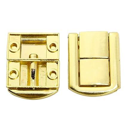 25mm Schmuckkasten Holzkiste mit Schrauben Gold 10 St Kistenverschluss Kofferverschluss Schnappschloss Haspe 30