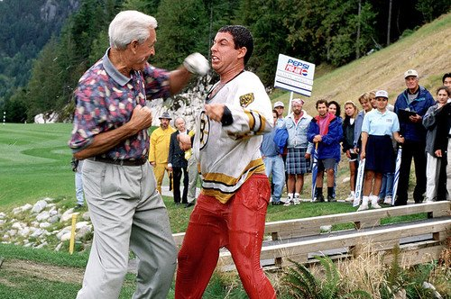 bob barker and adam sandler in happy gilmore 24x36 poster at