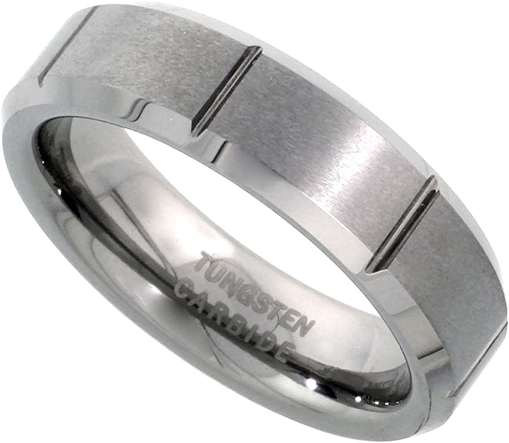 Tungsten Carbide 6 mm Flat Wedding Band Ring Satin Finished Vertical Grooves Beveled Edges, Sizes 5 to 12