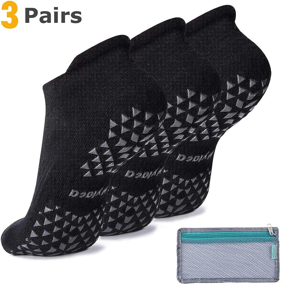 Hylaea Unisex Non Slip Grip Socks for Yoga, Hospital, Pilates, Barre | Ankle, Cushioned : Clothing