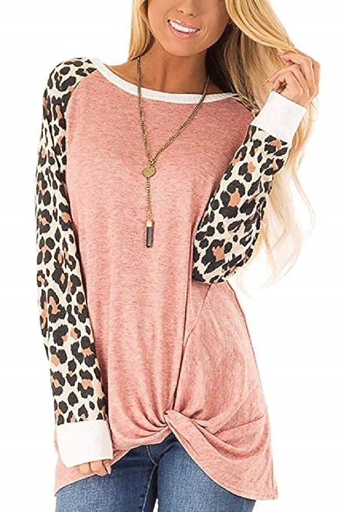 Aurgelmir Womens Leopard Print Tunic Tops Patchwork Long Sleeve Knot Twist Casual Loose Blouses