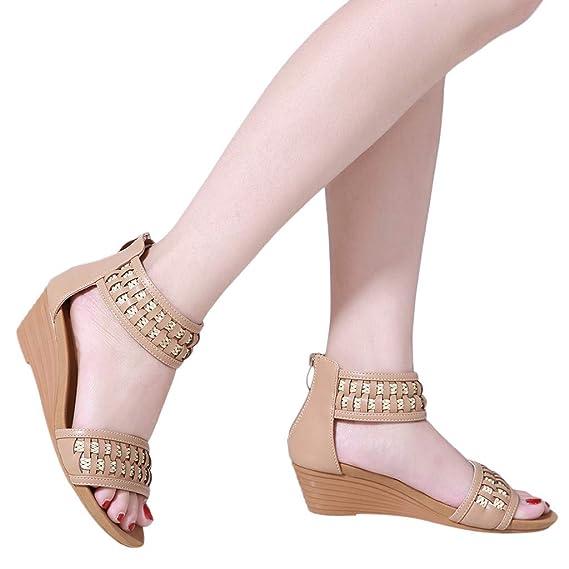 ABsoar Freizeitschuhe Damen Wedges Sandalen Frauen Keilabsatz Sandaletten Bequeme Geflochtene Böhmische Flip Flops Casual Reißverschluss Einzelne