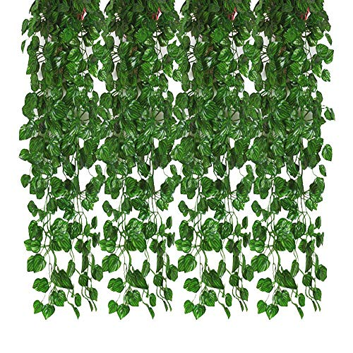 Kalolary 78 Ft 12 Strands Artificial Ivy Garland Leaf Vines Plants Greenery, Hanging Fake Plants, for Wedding Backdrop Arch Wall Jungle Party Table Office Decor (Watermelon Leaf)]()