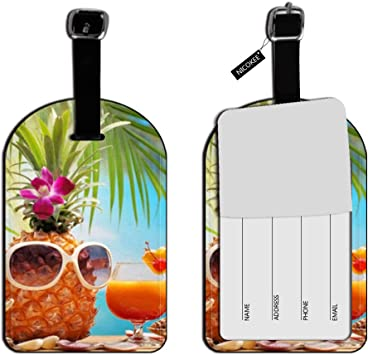 Pineapple Luggage Tags Suitcase Labels Bag Travel Accessories Set of 2