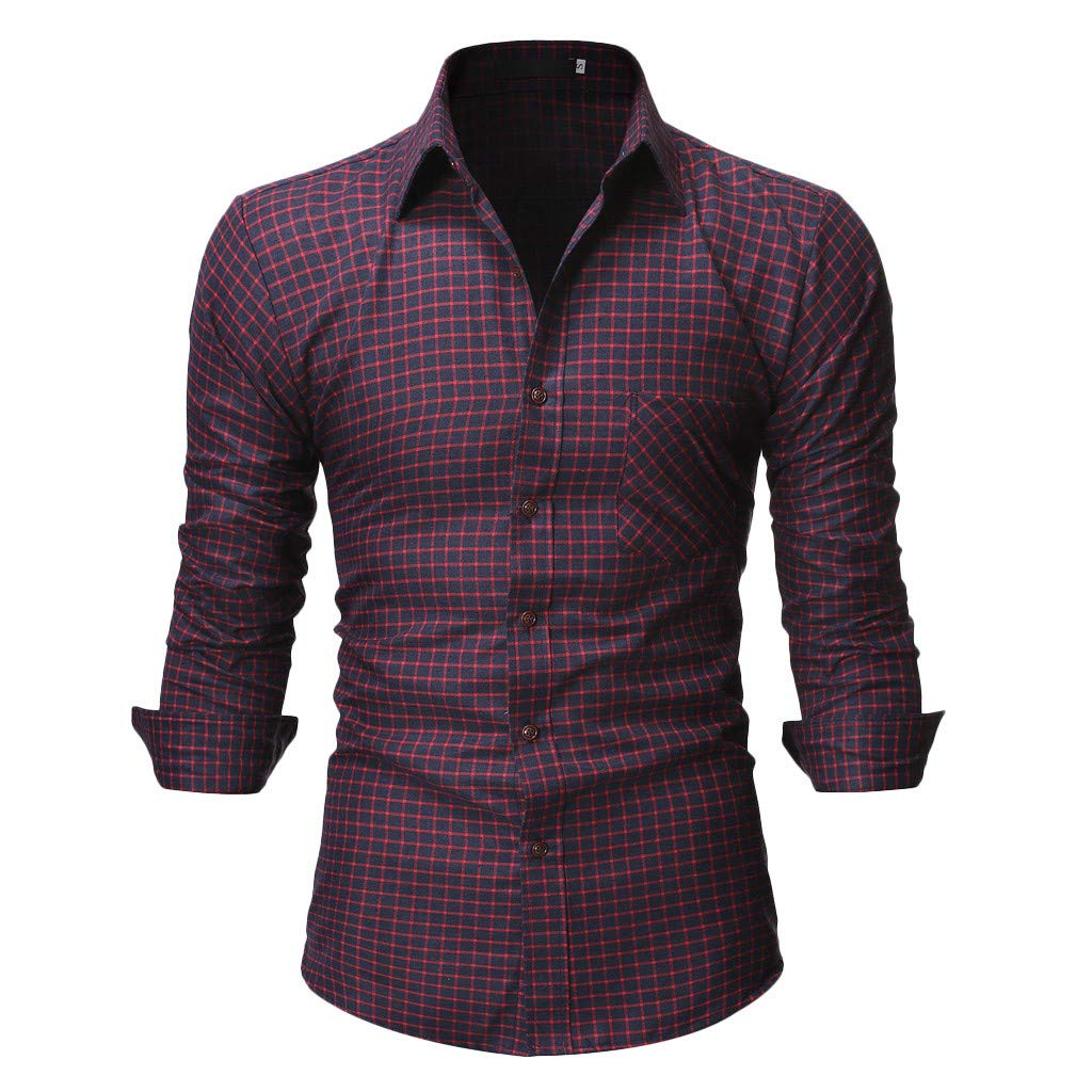 Mens Summer t Shirts Short Sleeve Tronet Men's Casual Normal Plaid Floral Business Long Sleeve Button T-Shirt Top Blouse