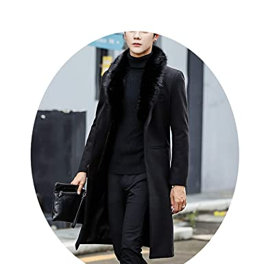 Easy- Love 2018 Coat Warm Outwear Slim Coat Men Long Winter Trench Coat,Black