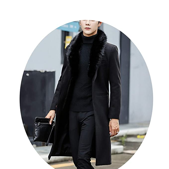 Amazon.com: Easy- Love 2018 Coat Warm Outwear Slim Coat Men Long Winter Trench Coat: Clothing