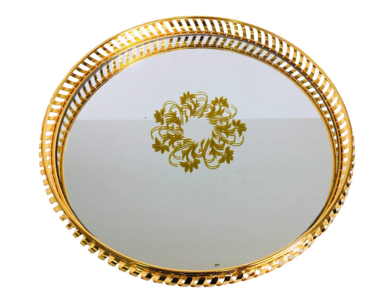 Bo Time Plateau Rond en Acier Dor/é avec Fond Miroir de Style Oriental