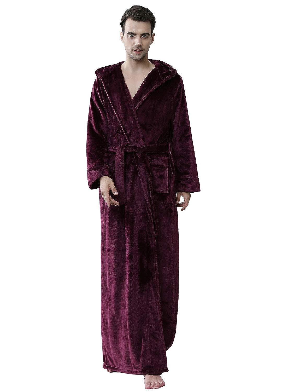 Men Winter Long Dressing Gown Fleece Bathrobe with Hood M Red/Blue Spa Robe Boys Full Length Fluffy Towelling Robe Nightwear Soft/Warm Flannel Night Robe Sleepwear LOA81706-MEN-ZBU-M