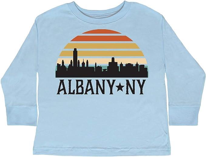 inktastic Albany New York Retro Sunset Skyline Toddler Long Sleeve T-Shirt