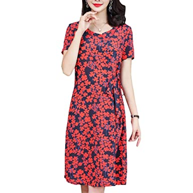 DISSA S2828 Women Vintage Sleeveless Midi Cocktail Plus Size Silk Evening Long Dress,Red,
