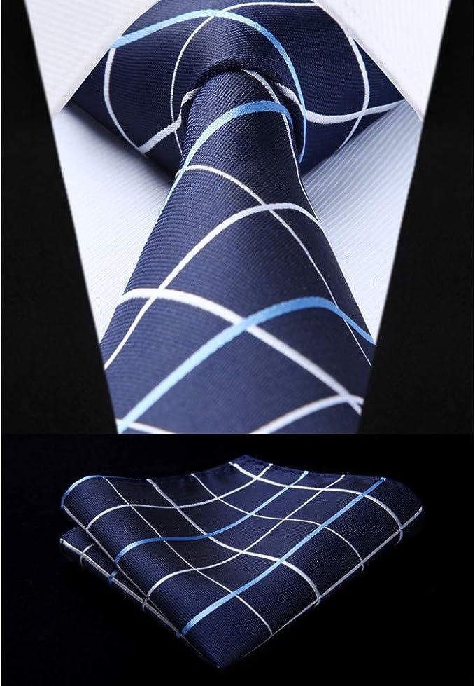 Seda Corbata Set Corbata tejida para hombre a cuadros azul marino ...