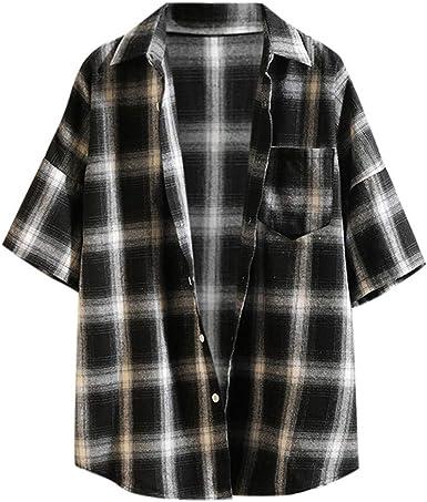 SoonerQuicker Camisa de Hombre Moda de Verano de Manga Corta de Tela Escocesa de Costura Casual para Camiseta Chaqueta Superior blusaT Shirt tee: Amazon.es: Ropa y accesorios