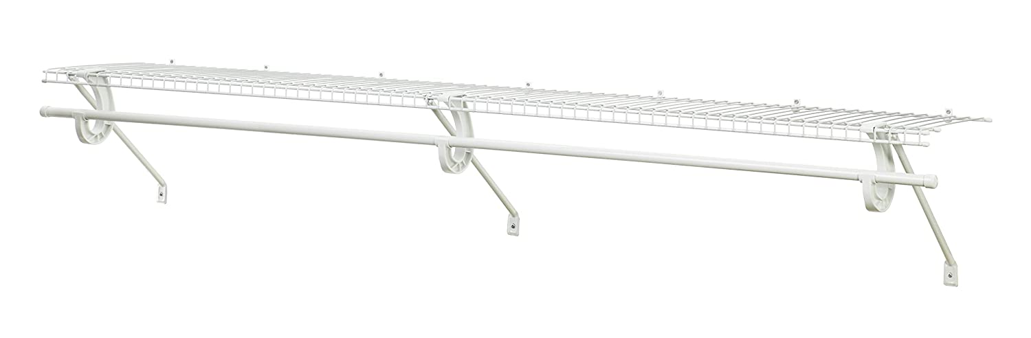 ClosetMaid 5631 SuperSlide Ventilated Shelf Kit with Closet Rod, 4-Foot x 12-Inch, White