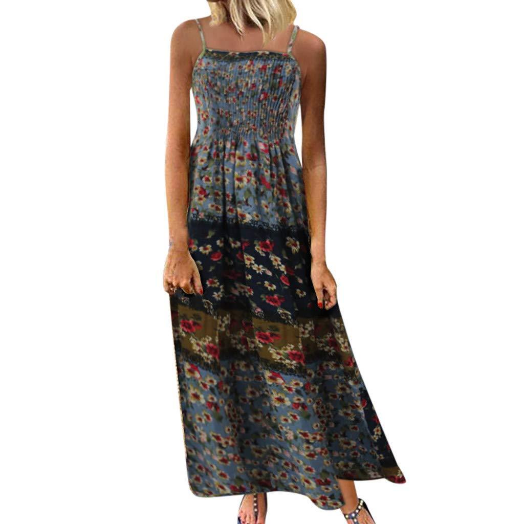 Zlolia Women's Patchwork Printed Bohemian Ethnic Style Dress Strap Deep V Open Back Straight Dress Summer Beach Midi Skirt Blue