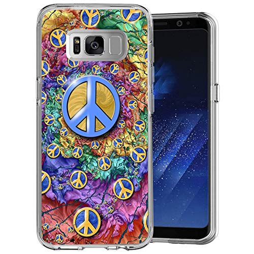 Peace Sign Samsung Galaxy S8 Case Clear Milostar Design TPU Clear Protective Shock-Proof Cover, Case Samsung Galaxy S8 Peace Sign