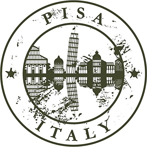 Zirni Pisa Italy Europe Travel Retro Rubber Stamp Sticker Decal Design 5