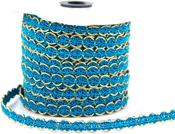 Craft Braid Trim Perfect for Sewing Aqua Blue /& Gold Crafts and More 43 Yards 3//4 Width