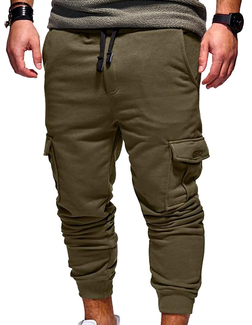 WSPLYSPJY Mens Casual Sport Loose Outdoors Work Drawstring Pant Trousers
