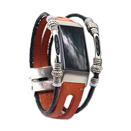 Amazon com: Libbyer Leather Bands Compatible Fitbit Charge 3