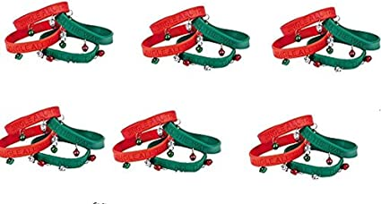 """Christmas /""""Jingle All The Way/"""" Rubber Wristband Bracelets with Bells Pack of 6"""
