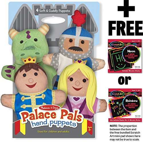 Palace Pals 4-Piece Hand Puppets Gift Set + FREE Melissa & Doug Scratch Art Mini-Pad Bundle [90827]