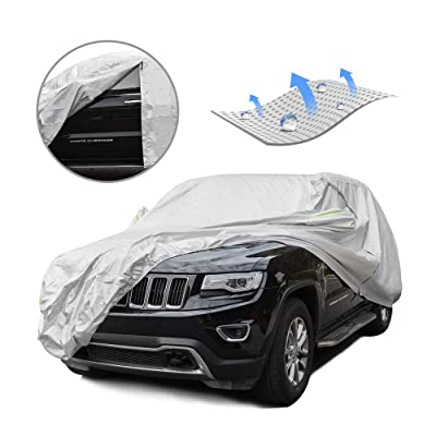 Tecoom LSC05 Breathable Material Classic Zipper Design Waterproof UV-Proof Windproof Car Cover for All Weather Indoor Outdoor Fit 180-195 inches SUV: Automotive