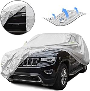 Tecoom LSC06 Breathable Material Classic Zipper Design Waterproof UV-Proof Windproof Car Cover with Storage and Lock for All Weather Indoor Outdoor Fit 196-210 inches SUV