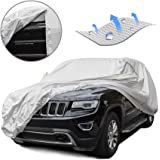Tecoom LSC05 Breathable Material Classic Zipper Design Waterproof UV-Proof Windproof Car Cover for All Weather Indoor Outdoor Fit 180-195 inches SUV
